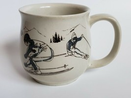 Vintage Otagiri Down Hill Skier Bubble Mug Ski Scene Coffee Cup - $19.35