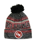 Oklahoma OK Patch Fade Out Cuffed Knit Winter Pom Beanie Hat (Gray/Burgu... - $11.95