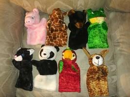 "Lot Of 8 Hand Puppet Plush 9"" Dog Cat Pig Frog Parrot Giraffe Bear Panda... - $29.69"