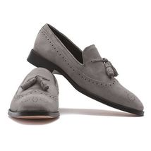 Handmade Men's Gray Suede Slip Ons Loafer Tassel Brogues Style Shoes image 3