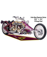 Maroon Arlen Ness Motorcycle Reproduction Cut Out Metal Sign 12.5x23.5 - $26.73
