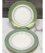 """Set of 4 Royal Worcester Regency Green 6"""" Bread Side Plates Gold Trim - $27.72"""