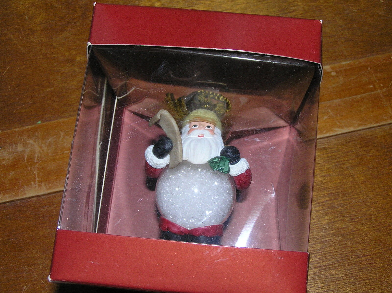 Gorham Winter Follies Snow Globe Belly Santa Claus with Bag of Gifts & List