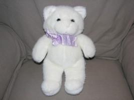 Vintage 1988 Stuffed Plush Manhattan Toy Kitty Cat Kitten White Purple Ribbon - $37.21