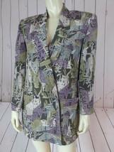 Linda Allard Ellen Tracy Blazer Petite 6 Silk Gray Taupe Purple Abstract... - $58.41