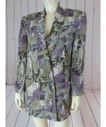 Linda Allard Ellen Tracy Blazer Petite 6 Silk Gray Taupe Purple Abstract DYNASTY - £42.88 GBP