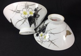 Vintage Japanese Watercolor Raven Blossom Porcelain 2 Rice Bowl - $26.75