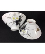 Vintage Japanese Watercolor Raven Blossom Porcelain 2 Rice Bowl - $26.75