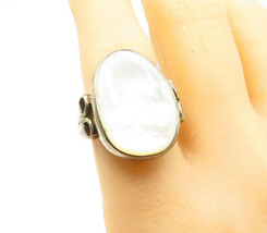 RAGE 925 Silver - Vintage Mother Of Pearl Oval Cocktail Ring Sz 8 - R13722 - $36.52