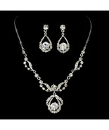 Silver Bridal Jewelry Set Necklace and Earrings Set Clear Rhinestones - $38.33