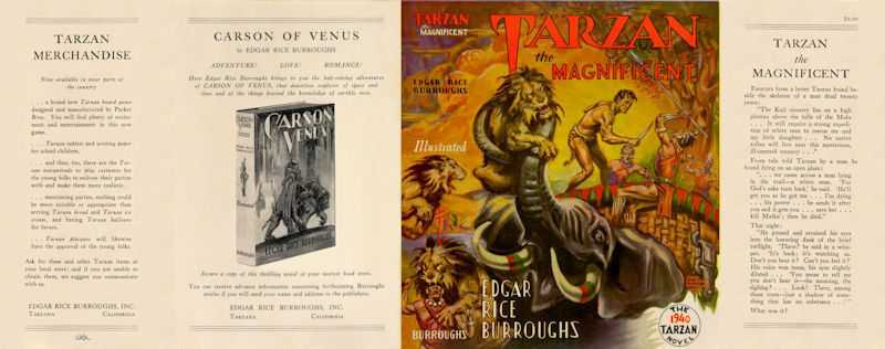 Edgar Rice BURROUGHS - TARZAN THE MAGNIFICENT FACSIMILE DUST JACKET
