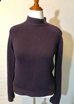 Talbots Women's  Sweater Purple Crewneck Side Zipper Medium - $9.85