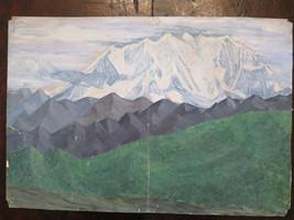 Old Painting Painter Local landscape Alpine Alps On Basket 46x37 CM P14 - $55.19