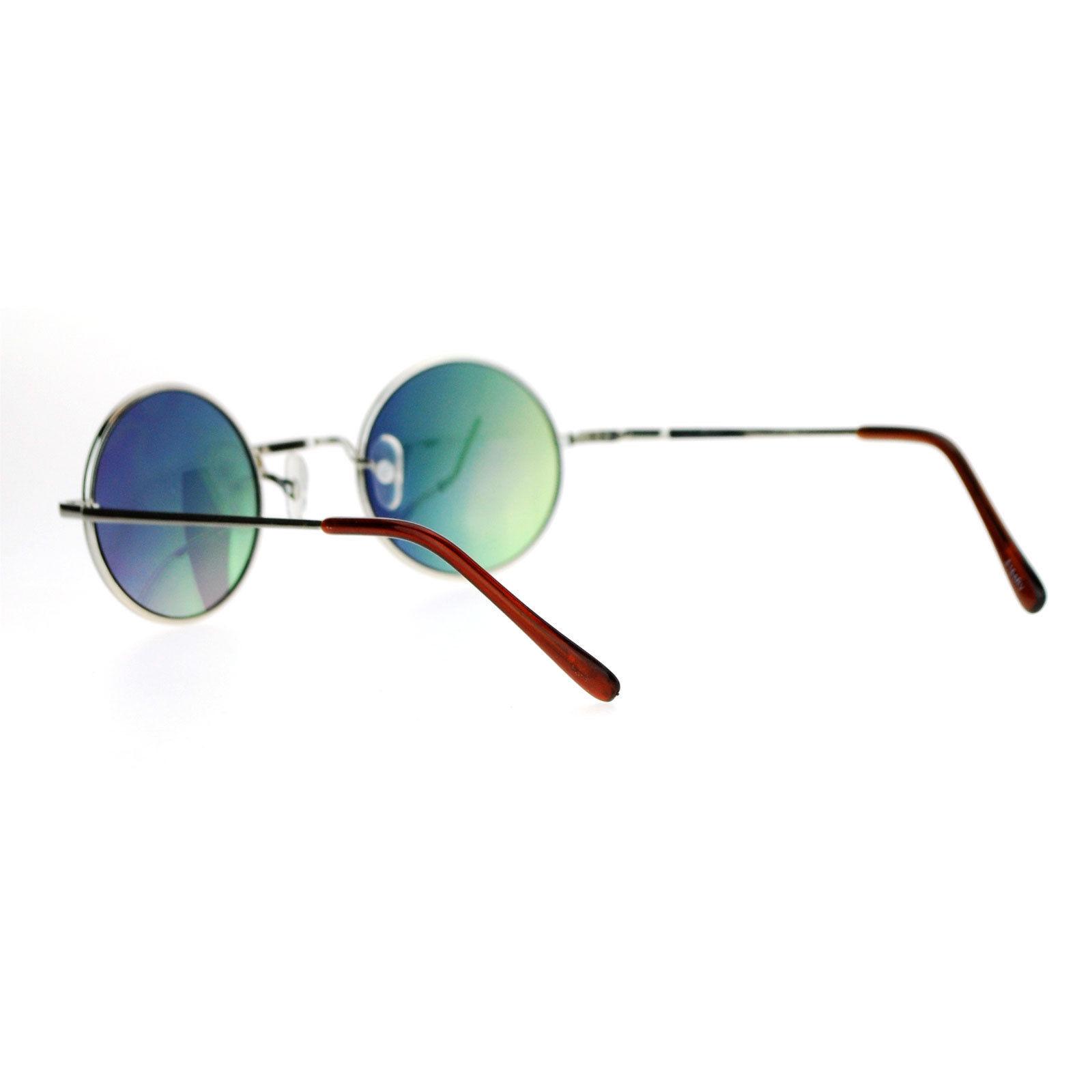 Small Round Circle Frame Sunglasses Metal Spring Hinge Mirror Lens