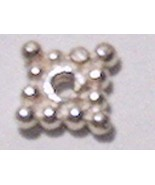 10 Square/Diamond Spacers Bright Sterling Silver from Bali #ZG003xsb - $6.04