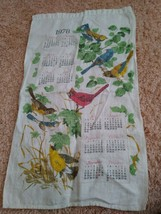 "Vintage 1978 Linen Tea Towel Calendar 25"" X 15"" Birds Nature - $9.80"