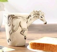 White Horse Original 3D Animal Hand Painted High Quality Ceramic Mug Art... - £12.22 GBP