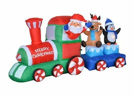 NEW Christmas Inflatable Santa Reindeer Penguin Train Lighted Yard Decor... - $108.89