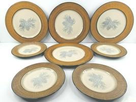 Cabelas Conifer Forest (4) Dinner (4) Salad Plates Set Pine Cone Stonewa... - $98.67