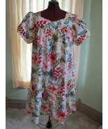 The Hawaiian Original Red Pink Hibiscus White Cotton Dress MuMu Size 2XL... - $47.00