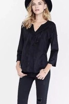 Women's XS Express Faux Suede Fringe Western 3/4 Sleeve Top New With Tags - $15.83