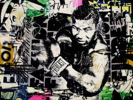 "Mr Brainwash oil Painting on Canvas graffiti art Mike Tyson Boxing 28x36"" - $29.69"