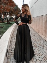 Two Piece Long Sleeves Black Prom Dresses with Appliques Evening dress Hot - £136.70 GBP