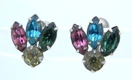 VTG 1930s CORO Silver Tone Multi-Color Pastel Rhinestone Screw Back Earrings - $29.70
