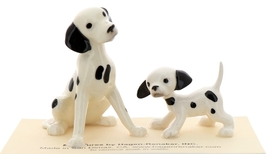 Hagen-Renaker Miniature Ceramic Dog Figurine Dalmatian Sitting with Pup