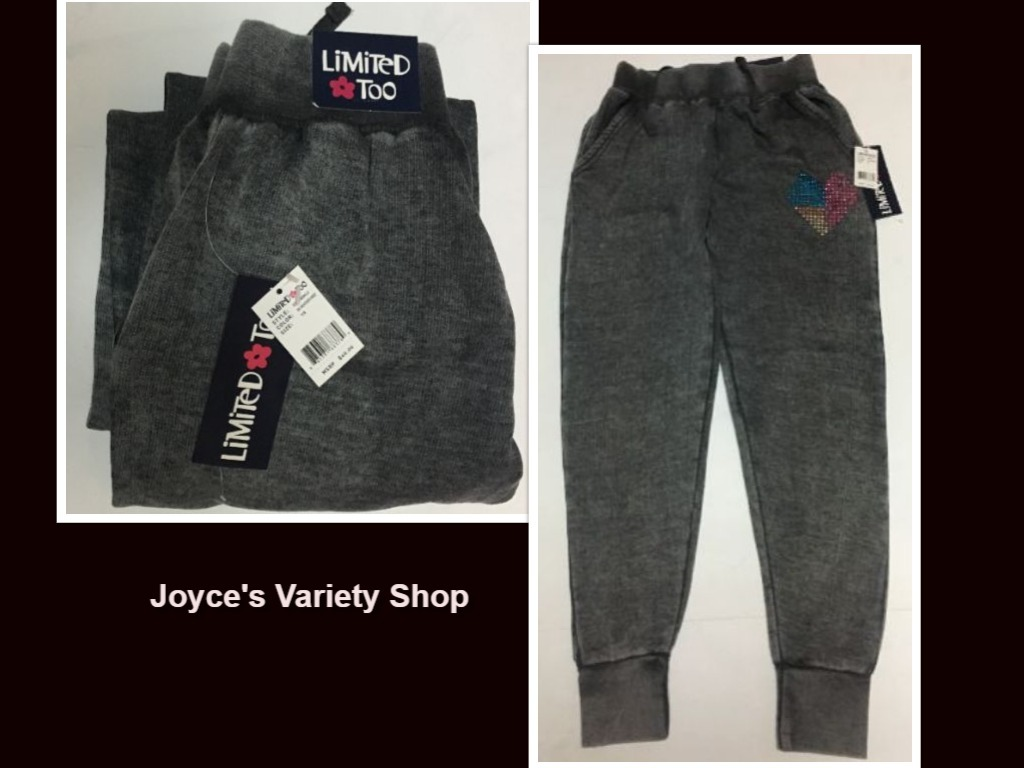 Limited too sweatpants girls grey collage