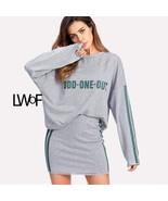 Drop Shoulder Striped Oversized Top & Skirt Set - $39.99