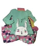 Girls Pajamas Set Easter Bunny Size 5 Turquoise Cotton Long Sleeves - $18.02