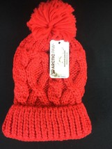 ARCTIC Paw Chunky Cable Knit Beanie with Yarn Pompom - Red - Kids - $9.99