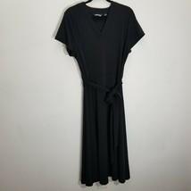 Lands End Dress Womens 1X Black Jersey Stretch Belted V Neck Short Sleev... - $24.18