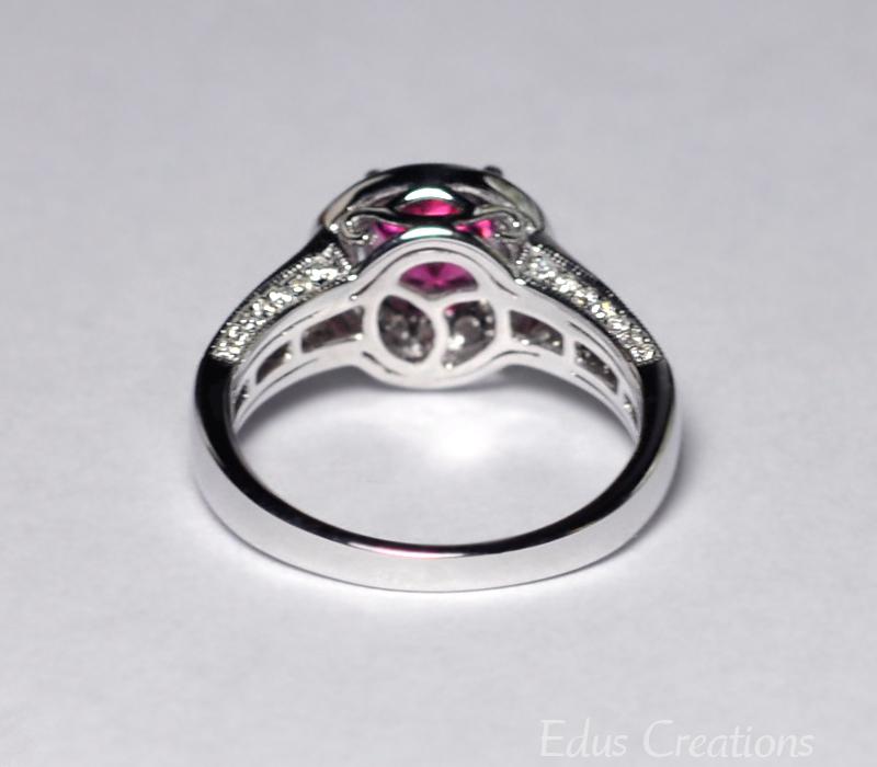 Natural Pink Tourmaline Diamond Solitaire Statement Ring Women 14K White Gold