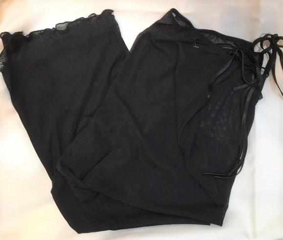 Fredericks of Hollywood Black Sheer top & pants sleep pajama Set M Medium NEW
