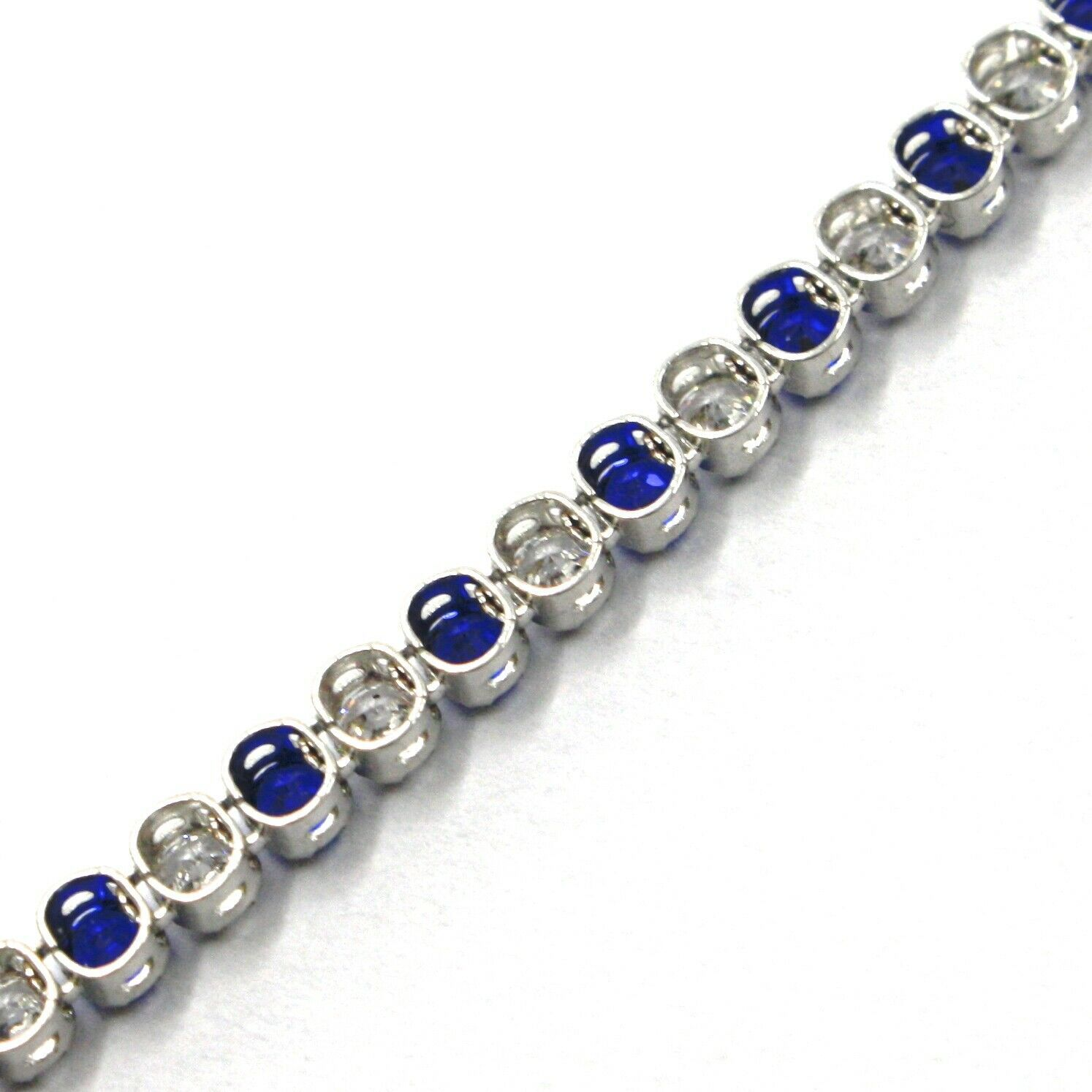 18K WHITE GOLD TENNIS BRACELET BLUE CUBIC ZIRCONIA 2.5mm LOBSTER CLASP CLOSURE image 4