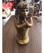 Small Hideaway Box Gold Color Pharaoh Opens Standing Up - $12.45
