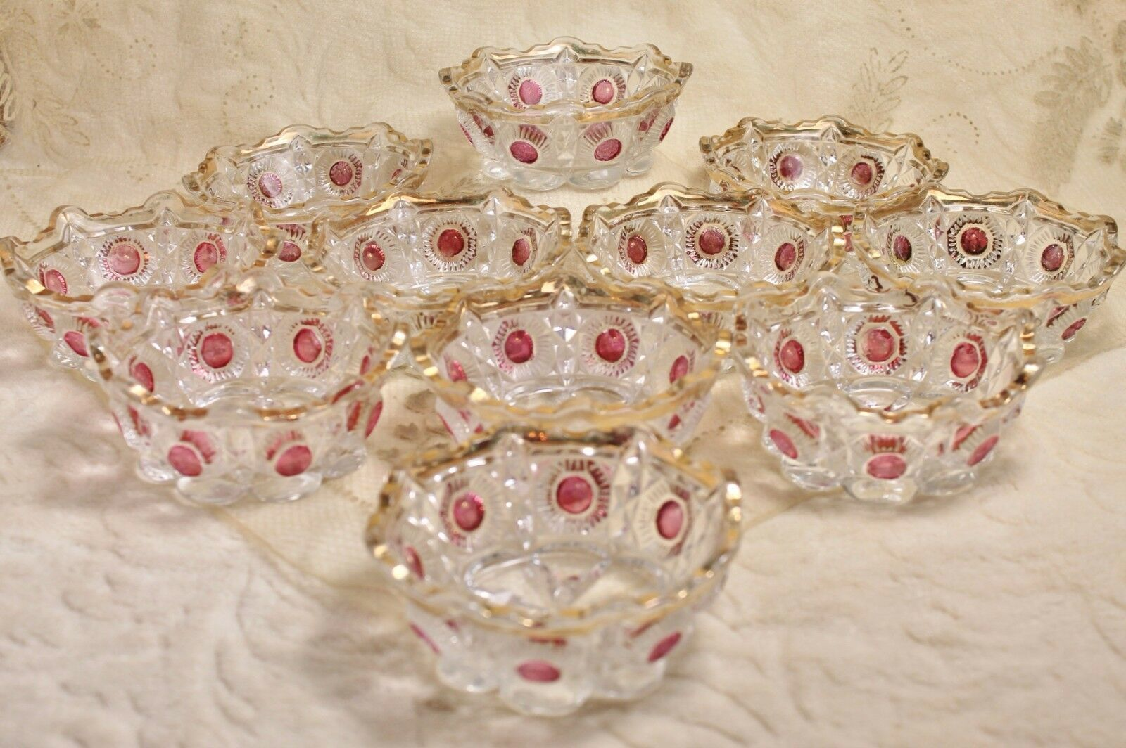 Primary image for EAPG Ruby Red Stained Bullseye Daisy Newport Glass Bowl Set of 11