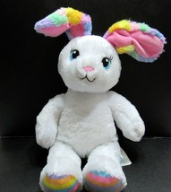 Build a Bear BAB White Sweet Stripes Easter Bunny Stuffed Plush With Sou... - $35.99