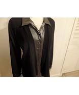 Women M L 12 14 16 Cardigan Coat Blazer Jacket Open Black Career Work Dr... - $23.02
