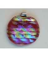 Dichroic Glass Pendant Iridescent Pink Yellow Green Blue Purple - Pre-Owned - $21.78