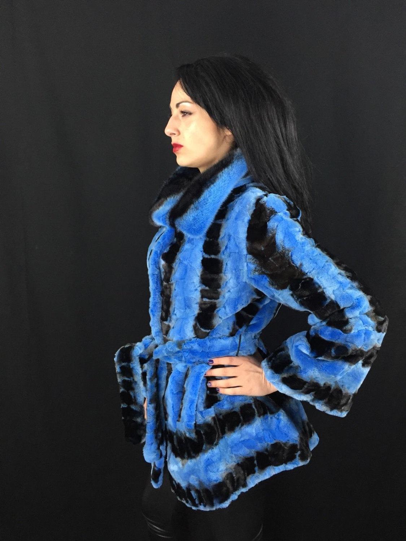 Luxury gift/ Blue/black /Mink fur coat/ Wedding,or anniversary present image 3