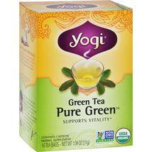 Yogi Organic Pure Green Herbal Tea - 16 Tea Bags - Case of 6 - $32.99