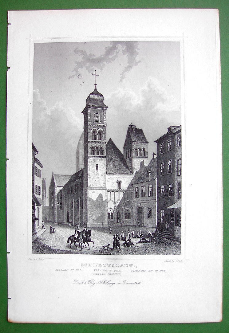GERMANY Schlettstadt Church of St. Foi Front View - 1853 Antique Print