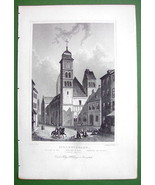 GERMANY Schlettstadt Church of St. Foi Front View - 1853 Antique Print - $9.57