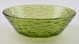 Anchor Hocking Glass Soreno Avocado Pattern Cereal Bowl Vintage Green Glassware - $5.49