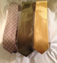 3/MEN SILK TIES YELLOW TWEED/PAUL FREDRICK, ARMY GR/MEETING ST.  - $24.30