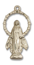 14K Gold Miraculous Medal 7/8 X 1/2 inch - $370.02