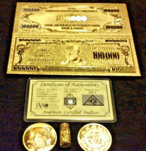 4 Piece ☆Mixed Lot: 999 Mini Silver Shot/GOLD $100,000 Banknote/COIN&FLAKE ☆ - $24.71
